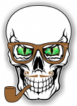 GOTHIC Hipster SKULL With GREEN Evil Eyes and Pipe & Glasses Motif External Vinyl Car Sticker 100x70mm